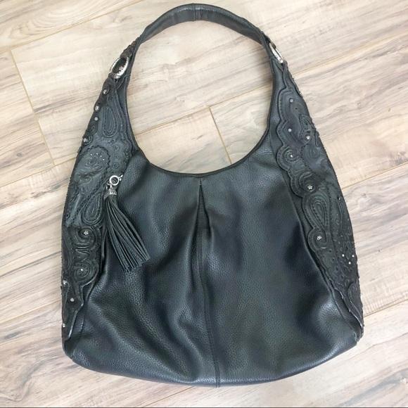 a7dea85f522 Brighton Handbags - Brighton Paisley Leather Hobo Bag Large Tassel EUC